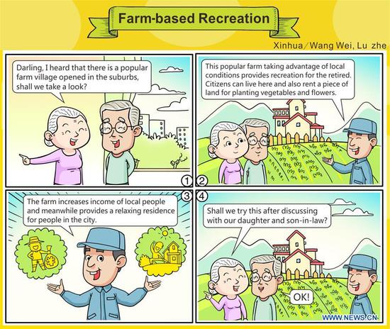 The comic strip shows China's farm-based recreation or agritourism. China's annual political sessions of the National People's Congress (NPC) and the National Committee of the Chinese People's Political Consultative Conference (CPPCC) are scheduled to convene in March, 2018. During the two sessions, development agendas will be reviewed and discussed, and key policies will be adopted. According to the 13th five-year plan for economic and social development of China covering the period 2016 to 2020, coordination has been emphasized as an integral quality of sustained and healthy development, which underlines advancing coordinated development between rural and urban areas, between different regions, and between economic and social development. (Xinhua/Wang Wei, Lu Zhe)