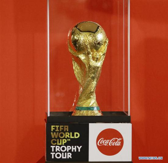 FIFA World Cup Trophy is pictured during a ceremony in Yerevan, Armenia, on Feb. 7, 2018. The FIFA World Cup trophy arrived in Yerevan on Wednesday as part of its worldwide tour ahead of the 2018 FIFA World Cup to be staged in Russia. (Xinhua/Gevorg Ghazaryan)