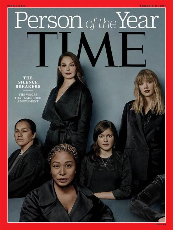 Time Person of the Year of 2017. The cover features actress Ashley Judd, singer Taylor Swift, corporate lobbyist Adama Iwu, worker Isabel Pascual and former Uber engineer Susan Fowler.
