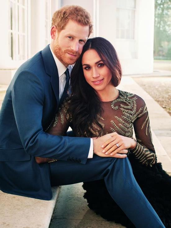 Britain's Prince Harry and Meghan Markle posed for their official engagement photos at Frogmore House, in Windsor, England. Alexi Lubomirski via AP