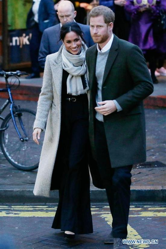 Prince Harry and Meghan Markle leave after a visit to Reprezent Radio at Pop Brixton in London, Britain, on Jan. 9, 2018. Prince Harry and Meghan Markle are to marry in a ceremony at Windsor castle on May 19. (Xinhua/Tim Ireland)