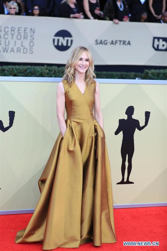 Holly Hunter attends the 24th annual Screen Actors Guild (SAG) Awards at the Shrine Auditorium in Los Angeles, California, the United States, Jan. 21, 2018. (Xinhua/Li Ying)