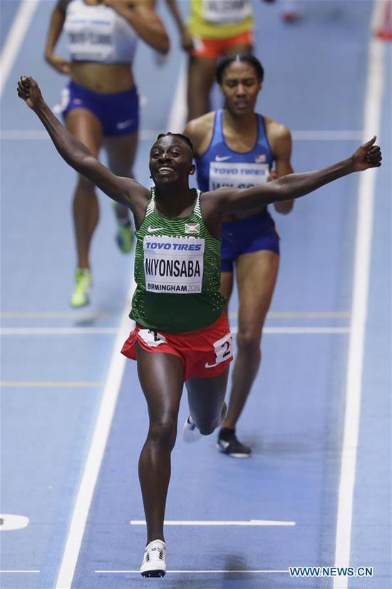 Francine Niyonsaba of Burundi celebrates after winning the women's 800 metres final during the IAAF World Indoor Championships at Arena Birmingham in Birmingham, Britain on March 4, 2018. (Xinhua/Tim Ireland)