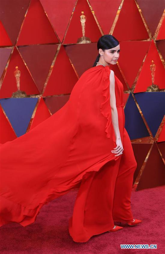 U.S. singer and actress Sofia Carson arrives for the red carpet of the 90th Academy Awards at the Dolby Theater in Los Angeles, the United States, on March 4, 2018. (Xinhua/Li Ying)