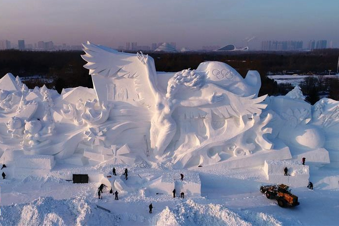 35-meter-high snow sculpture completed in Harbin