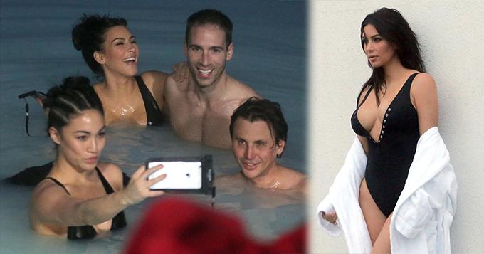 卡戴珊脱衣沐浴大胸惊人 与数名裸男戏水