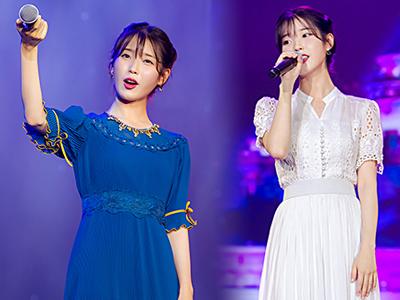 韩歌手IU南京火热开唱 白色镂空裙飘然若仙
