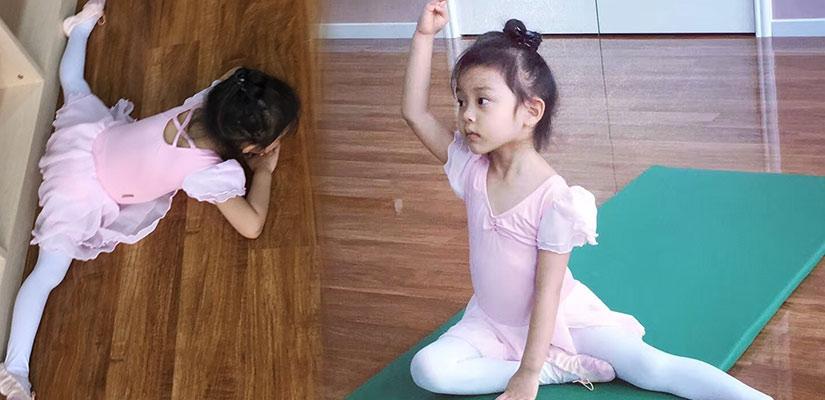 甜馨练芭蕾近照曝光 趴在地上轻松一字马