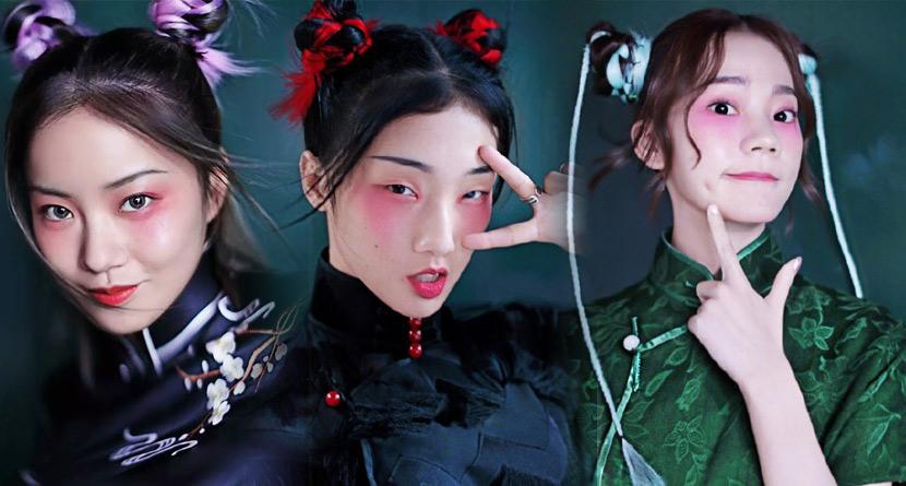 组图:101女孩中国风旗袍大片曝光 背面像鬼片正面长这样……