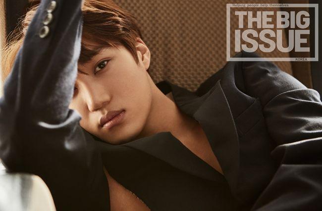 乐讯 韩国男团EXO成员KAI为某杂志拍摄的最新封面画报1日正式公
