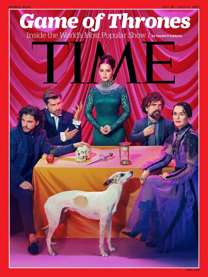 龙妈,小恶魔,瑟曦,詹姆,珊莎,二丫,最后一图是两位主创