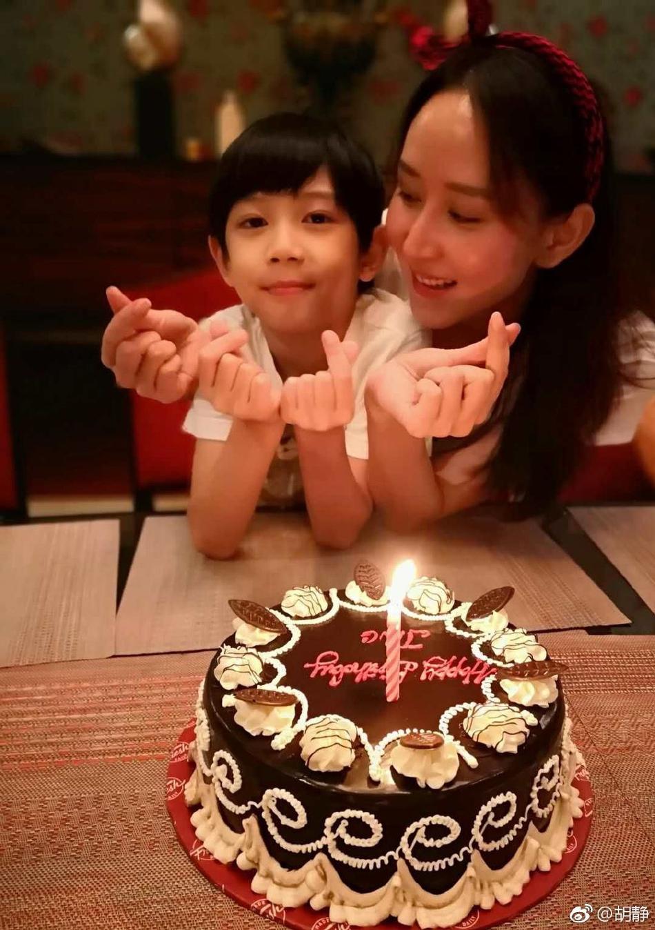 组图 胡静40岁生日晒照美貌不减 9岁儿子出镜像极了妈妈