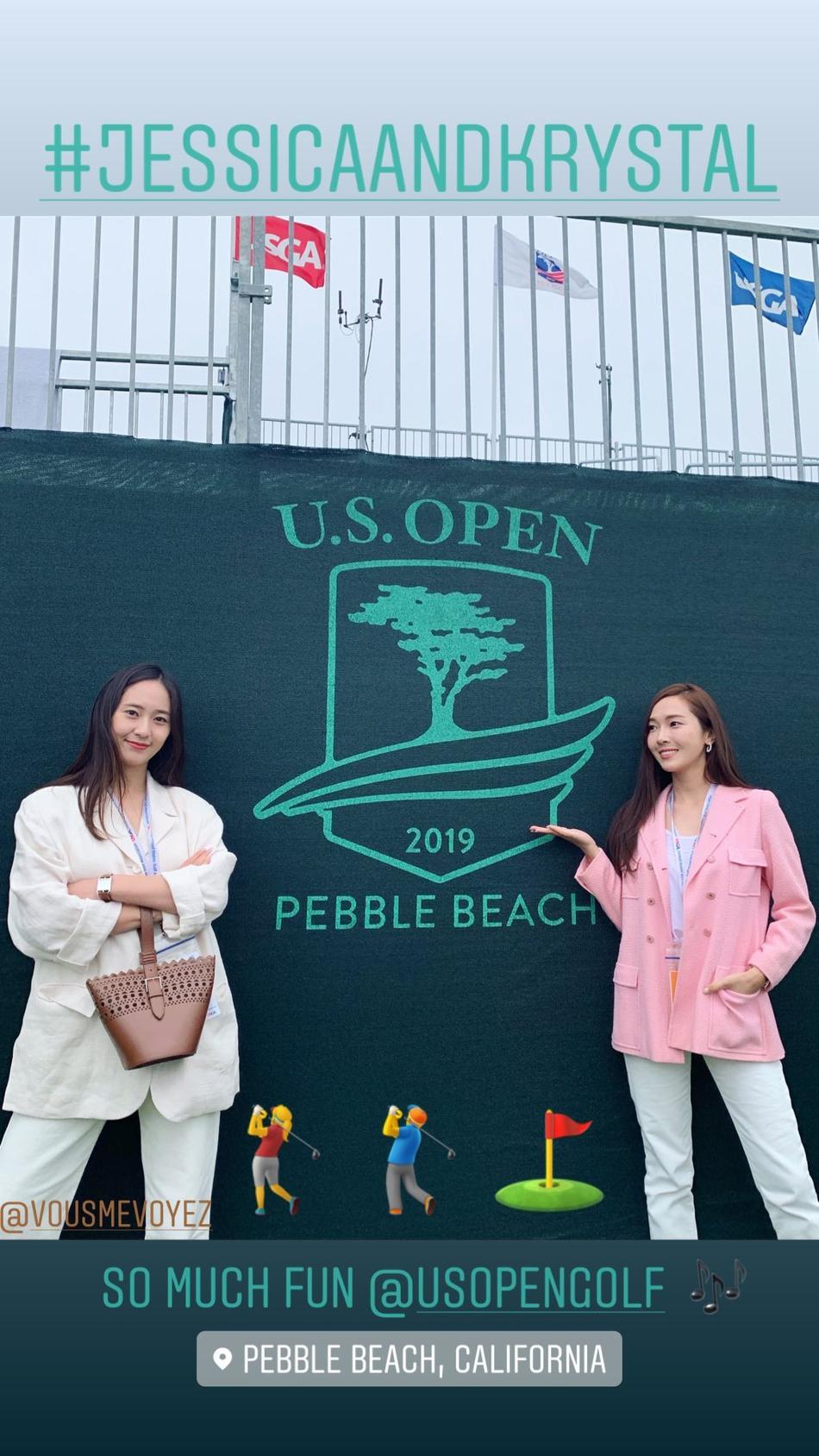 组图:郑秀妍郑秀晶姐妹高尔夫球场合体 一杆进球开心到跳起来