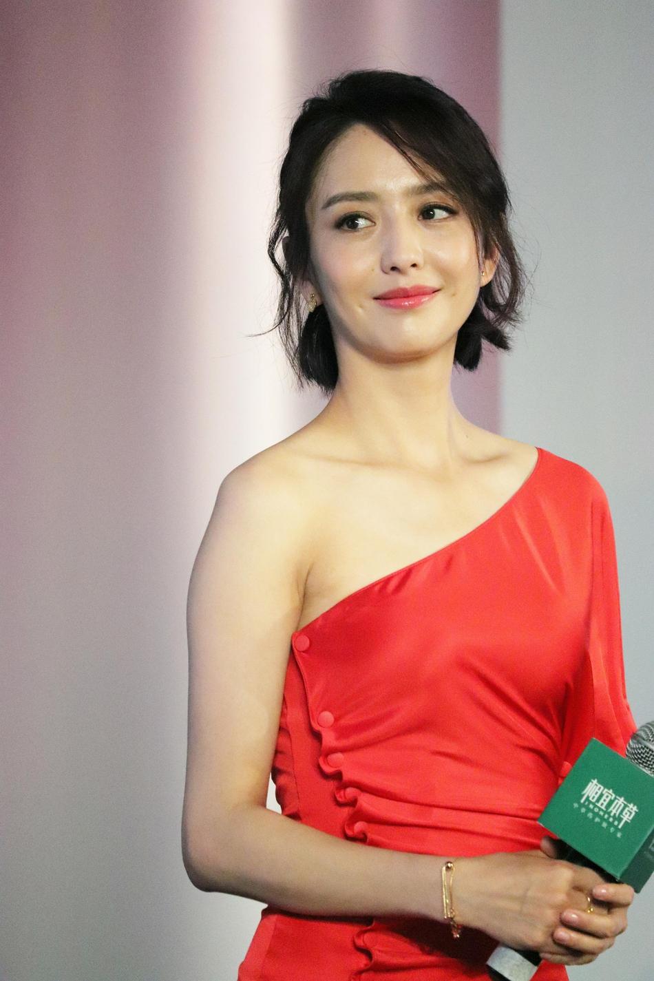 组图:佟丽娅穿斜肩礼裙秀香肩 梳精致短发对镜优雅甜笑