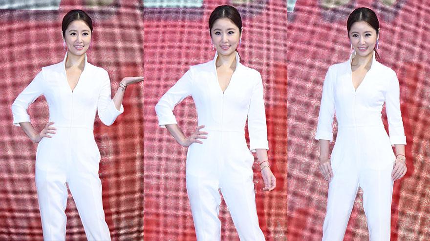 林心如一身白色连体裤知性优雅 身材纤瘦辣妈范儿十足