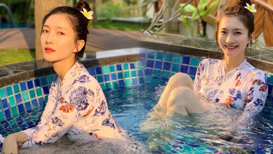 是仙女吧!江疏影晒男友视角泳池照 模样娇俏长腿隐现