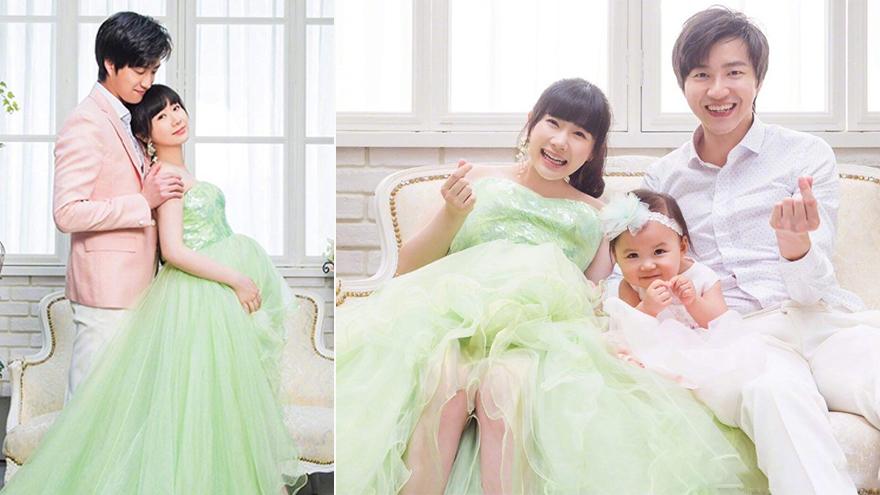 福原爱晒孕期全家福 和老公女儿幸福比心超有爱