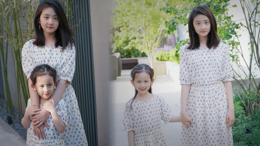 神仙姐妹!多多与妹妹穿同款长裙合照颜值高