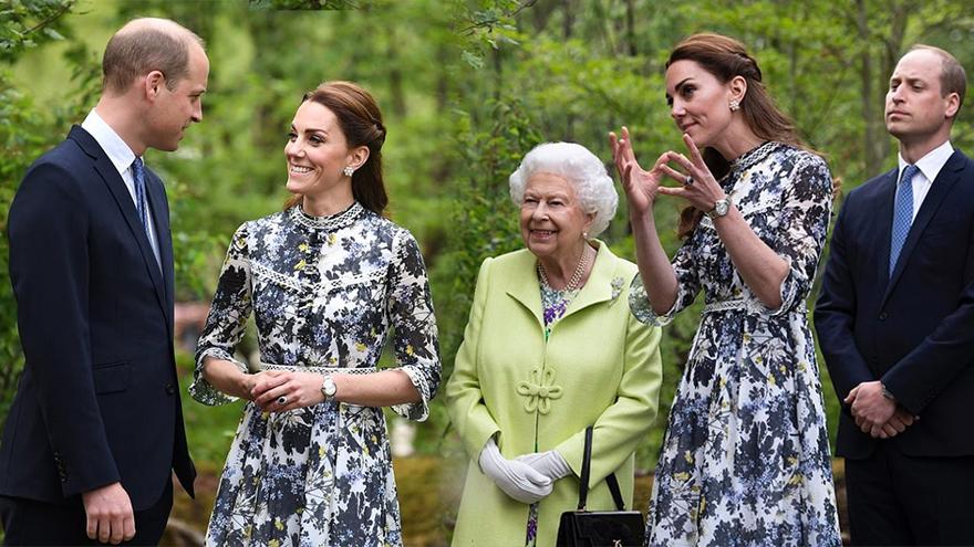 英國女王為花展揭幕 威廉王子凱特王妃深情對望發狗糧