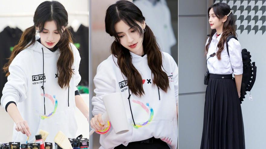 baby白色衬衫搭黑色长裙时尚优雅 双马尾少女感十足