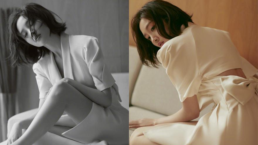 唐艺昕晒初秋氛围感写真 白色镂空蝴蝶结裙装优雅迷人