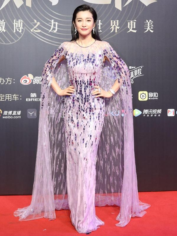 李冰冰粉紫紗裙霸氣