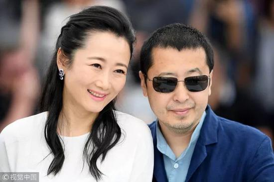 戛纳电影节上的赵涛和贾樟柯