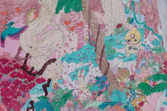 《年轮怪》主视觉风格:布景剧情绘卷 。 手绘:赵文太。剧组供图