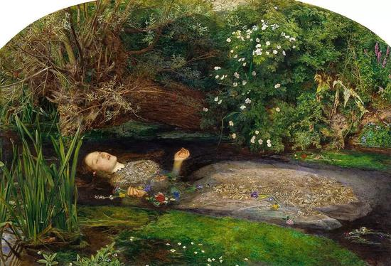 奥菲莉亚是莎士比亚作品《哈姆雷特》里的人物,这幅画描绘了她采花时跌落水中惨死的情景。
