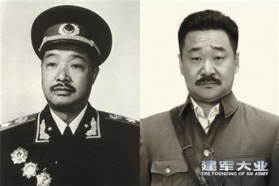 王景春与贺龙对比照。