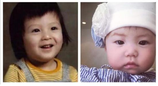 陈冠希(左图)小时候模样、女儿(右图)