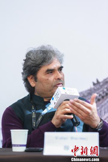 平遥国际电影节-《缘断仰光桥》导演Vishal Bhardwaj在发布会。主办方提供