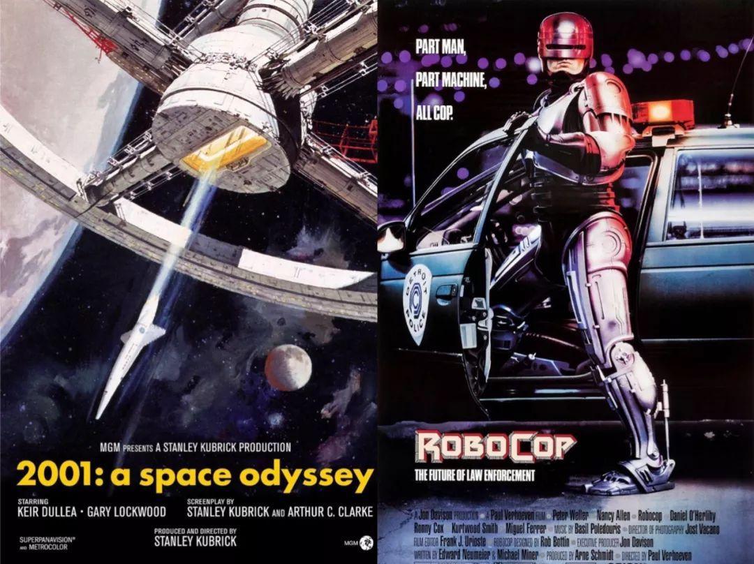 《2001太空漫游》和1987年的《机械战警》海报