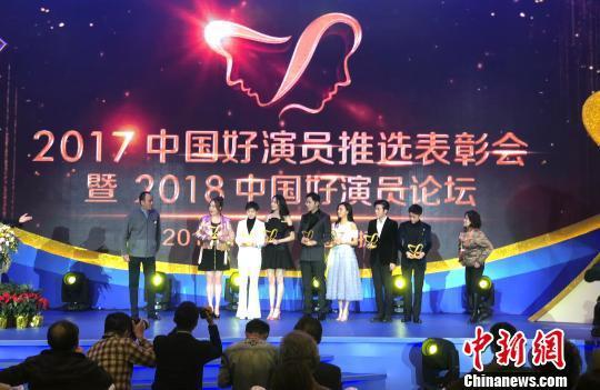 图为12日,2017中国好演员推选表彰会暨2018中国好演员论坛在江苏扬州举行。 张玲 摄