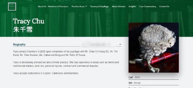某律师官网显示朱千雪已着手处理民事和刑事案件