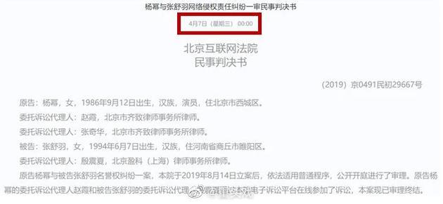 杨幂网络侵权案一审胜诉 被告需致歉并赔偿8万元