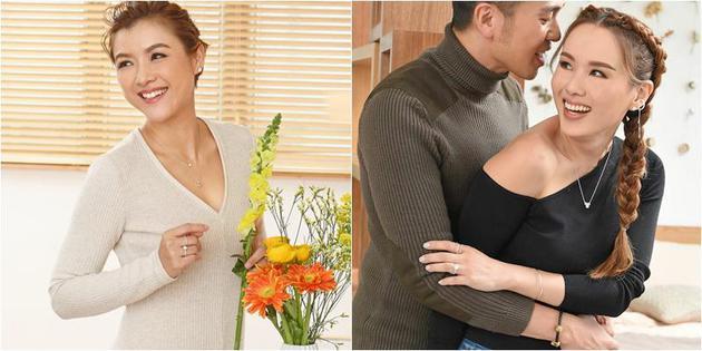 陳茵媺、楊洛婷與老公Tim爲品牌拍攝情人節特輯。