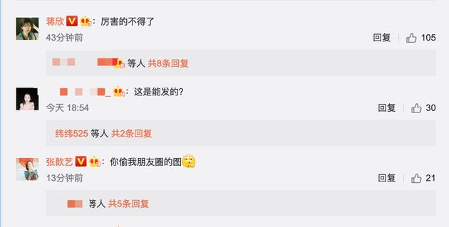 张歆艺、蒋欣在评论中留言