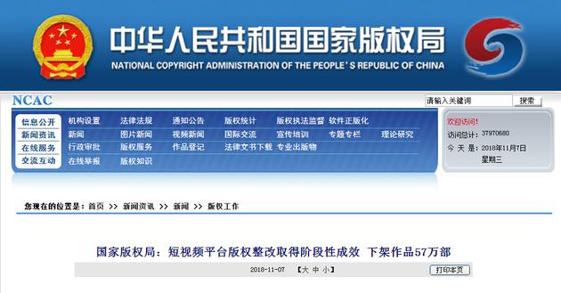 国家版权局发布短视频平台版权整改阶段性成果