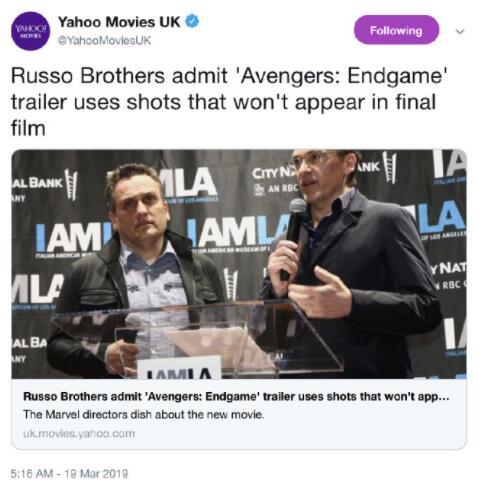 罗素兄弟表示《复联4》预告与正片无关
