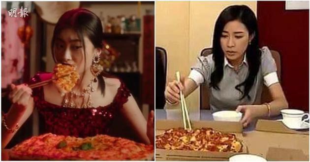D&G女模在宣傳片中以筷子夾薄餅吃,剛好佘詩曼多年前拍《絕代商驕》時,也曾用筷子夾薄餅。