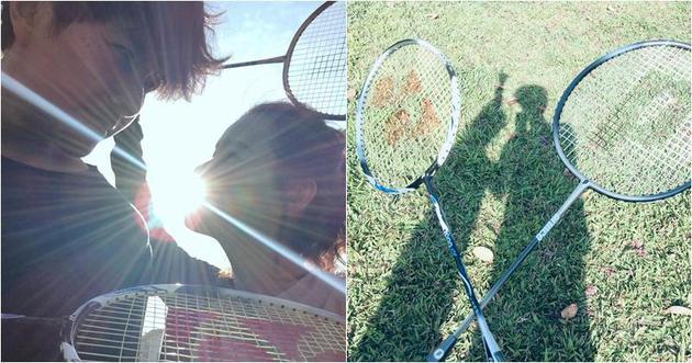 蕭正楠帶老婆去草地上打羽毛球,原來是用心良苦,怕老婆跌倒時受傷。
