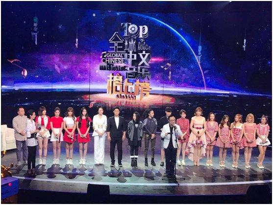 Hello Girls身穿红白演出服,在《全球中文音乐榜上榜》现场
