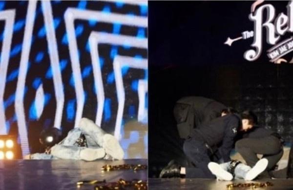 金在中曾在演唱会假装晕倒