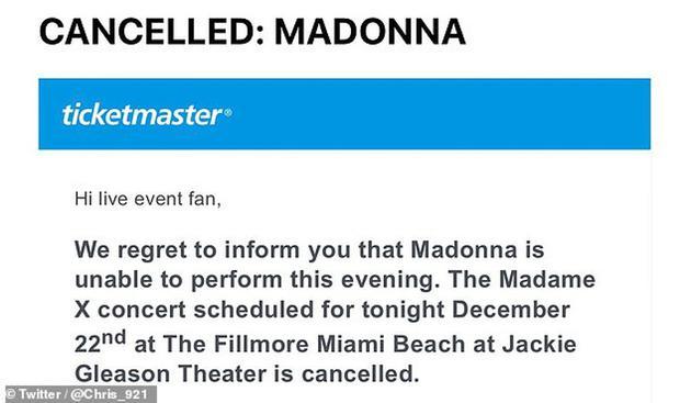 麦当娜突然取消演唱会
