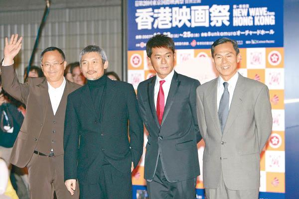 林岭东(右首)纵横影圈众年,与古天笑、徐克及杜琪峰频繁配相符。