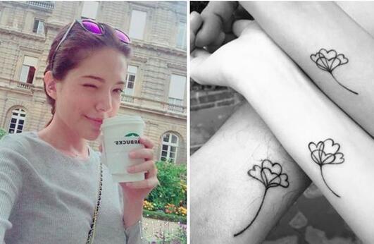 谢佳见晒出与二位好友同款纹身 林心如和许玮甯秀友情