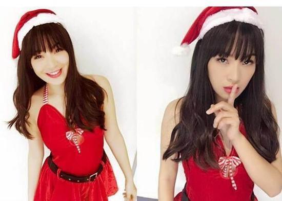 陈沂穿上性感圣诞节服饰
