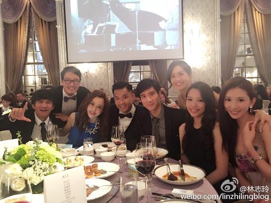 林志玲、王力宏夫妇、范玮琪夫妇等参加友人婚礼