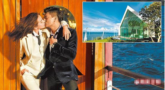 吴奇隆(左图右)和刘诗诗在新西兰拍恩爱婚纱照,右图为巴厘岛玻璃结婚教堂。